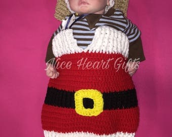 Ready to Ship Baby Santa Sleep Sack Cocoon with Santa Hat.