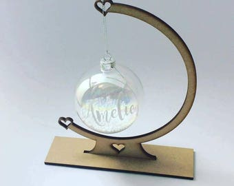 Personalised Christmas bauble and stand - Christmas baubles- memory baubles - baubles for children