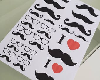 Board transfers iron mustaches theme ☆ ☆ ideal customisation
