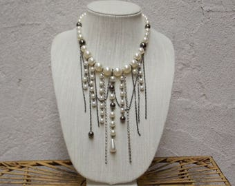 Large Oversized Pearl & Rhinestone Statement Necklace, Black and White Pearls