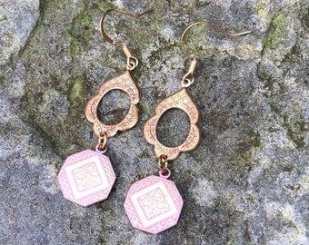 Dangling brass earrings