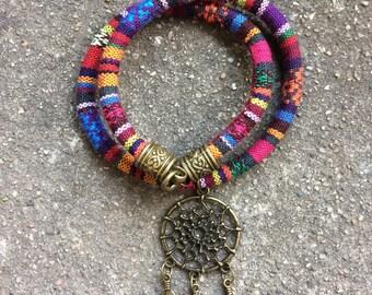 "Bracelet doubles row cordon dreamcatcher Hand-made ""Dyani"""