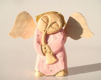 ANGEL playing a trumpet- handcrafted wooden sculpture