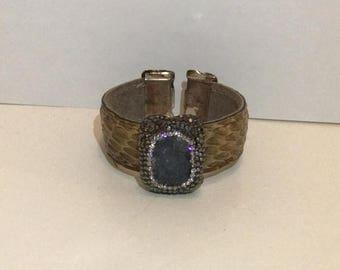 SUMMER  CLEARANCE SALE Vintage Turkish Snakeskin Cuff Bracelet