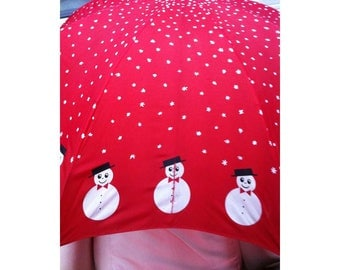 Childrens Vintage Umbrella Red with Snowmen Around the Edges and White Snowflakes Wooden Handle
