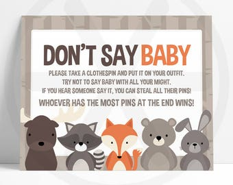 Dont Say Baby Game - Don't Say Baby Sign - Woodland Baby Shower Games Printable - Funny Baby Games - Baby Shower Activities