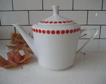 BOGO 40% OFF // Vintage Polka Dot Teapot - Simple - Retro Modern - Timeless - Orange/Red - made in Hungary - Northland - Fine China