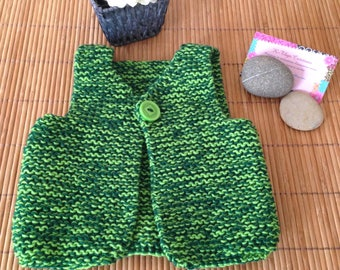 Two-tone vest, gift for newborn baby boy handmade Merino and cashmere