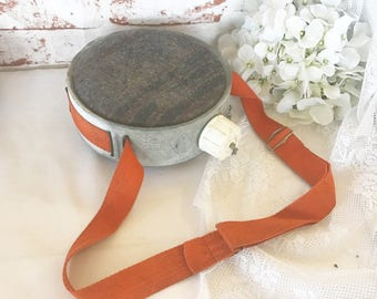 Vintage Mirro Canteen w/ shoulder strap, 2 quart, mid century aluminum metal, rustic primitive décor, camping hiking supplies, orange wool