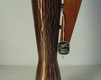 tall midcentury copper vase with Teak handle