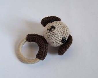Teething ring Akira the brown and beige doggy