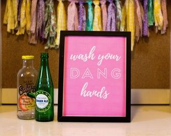 Bathroom Printable Wall Decor, Printable Wall Art, Wash Your Hands, Rose and White