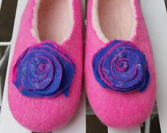 Handmade Felted Wool Women Slippers. Made by Feltingstudio in Edinburgh, SCOTLAND