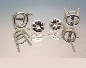4mm - 10mm Round Pre-Notched Sterling Silver Center Post Premium Basket Earring Setting ( 1 Pair )