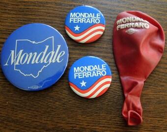 Mondale Ferraro Campaign Buttons and Balloon