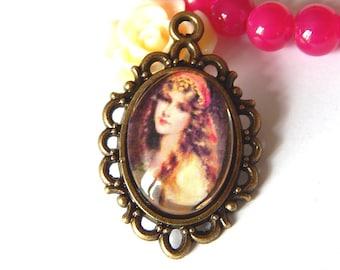 1 bronze pendant, vintage woman portrait cabochon 1
