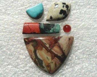 Cab Group with Morrisonite, Sonora Sunrise, Dalmatian, Turquoise, and Carnelian