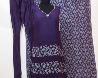 Ladies Long purple silver blue chiffon  dress, pants and shal pakistan 3 pc suit  size S