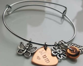 Mum hand stamped rose and silver bangle