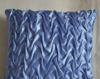 Blue wave satin cushion