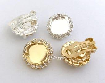 Clip On Earrings Settings, Cushion Halo Earrings Base Fits Swarovski 12mm 4470, Clip On Wedding Earrings Settings Clear Rhinestones