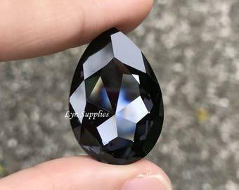4327 GRAPHITE 30x20mm Swarovski Crystal Teardrop Pear Fancy Stone No Hole, Charcoal Black