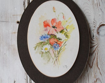 Two Vintage Floral Watercolour Painting Mounted From Early 1980s