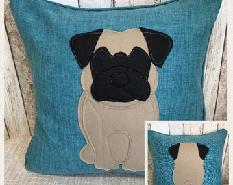 Pug dog - teal blue Reversible Cushion with a tail