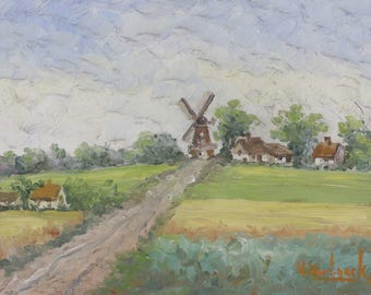 Vintage 1928 Oil Landscape painting of Country Scene with Windmill