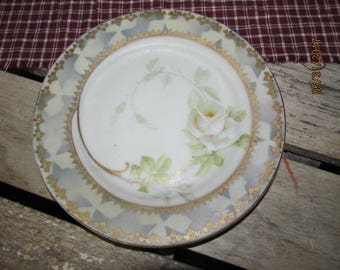 "Vintage Hand Painted Imperial Austria PSL Imperial Empire Saucer White Rose Gold Trim 6 1/2"" saucer"