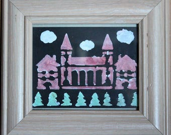 Framed Small Arch Building Artwork - Red Church in the Forest Original Art - Home Decor Stencil Trees Dundee