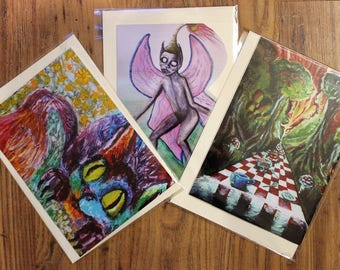 Set of Three Fantasy Art Greeting Cards - Tea-party Forest Art Print Cheshire Cat Chessboard Evil Fairy Alice in Wonderland Surreal Magical