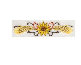 BATh towels 6 pc SET - Sunflowers & Wheat - Embroidered