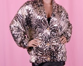 80s Vintage Silver Metallic Animal Print Jacket XL