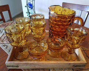 Amber Wine/Water/Dessert Goblets and Pitcher , Retro, Vintage