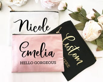 Personalized Makeup Bag - Personalized Cosmetic Bag - Personalized Bridesmaid Bag - Personalized Bridesmaid Makeup Bags (EB3222CT)