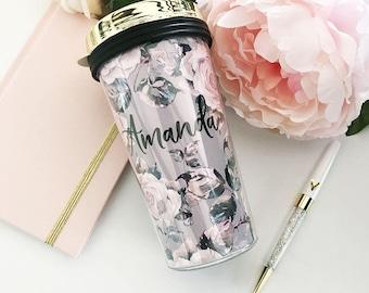Floral Travel Mug Floral Gifts for Women Floral Coffee Mug Personalized Mug Floral Travel Tumbler Floral Bridesmaid Mug  (EB3226RSG)