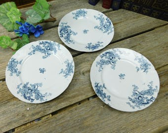 Set of 3 Antique Victorian Blue and White Floral Dessert Salad Plates