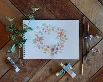 Springtime Floral Wreath Print