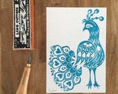 Folk Art Peacock - A5 hand printed lino cut in teal