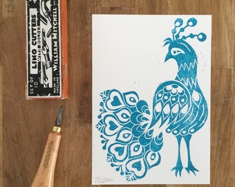 Folk Art Peacock - A5 hand printed lino cut in teal