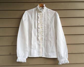M 70s silky Edwardian blouse