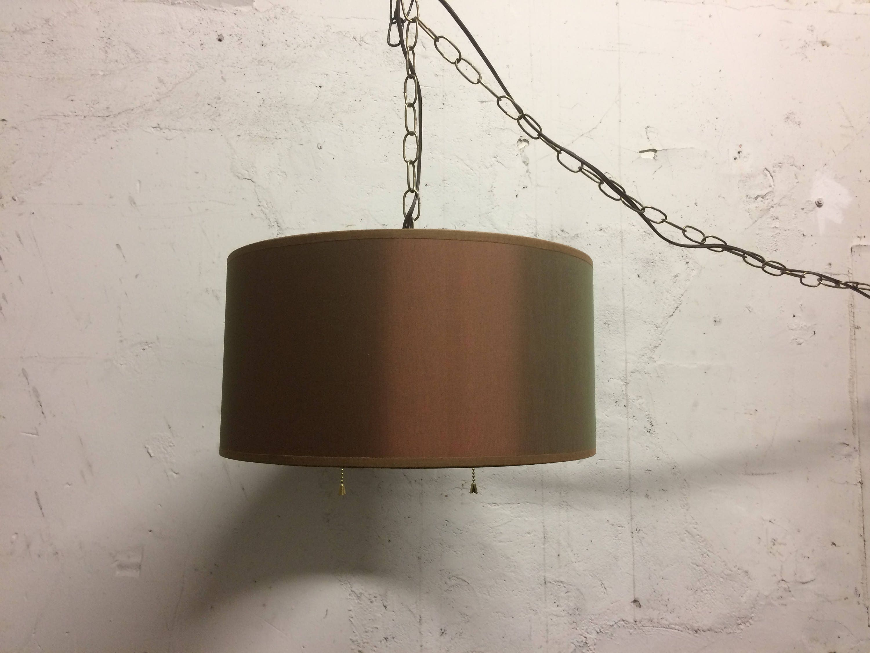 mid century modern swag fabric hanging lamp plug in 15 39. Black Bedroom Furniture Sets. Home Design Ideas