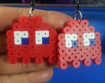 PacMan Ghost Red (Shadow/Blinky) Perler Bead Earrings