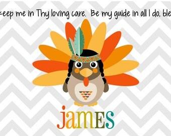 Personalized Placemat - Kids Owl Placemat - Childrens Placemat - Prayer Placemat - Thanksgiving Placemat - Turkey Placemat - Chevron Turkey