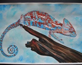 Original Watercolor Art - Chameleon - 56cm X 37,5cm