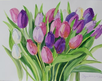 Tulips Original Watercolour art painting 14 x 20 in Botanical illustration floral watercolor flowers home decor Spring Flowers gift for her