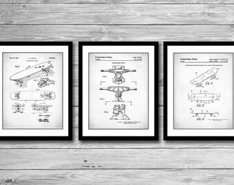 Skateboard Art Patent Prints Group of 3, Skateboard Posters, Teen Room Decor, Skateboard Decor, Teen Gift, P538