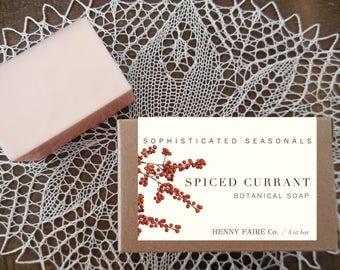 spiced currant soap | natural soap with red currant, black currant & spiced apple tea | 4 oz botanical bath bar
