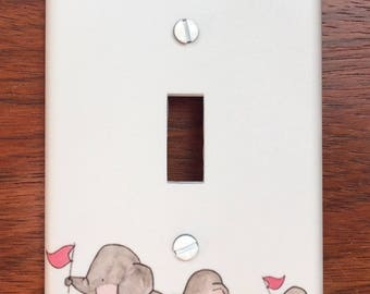Pink Elephant family light switch cover switch plate // girls room// girl nursery // Personalized // SAME DAY SHIPPING! **